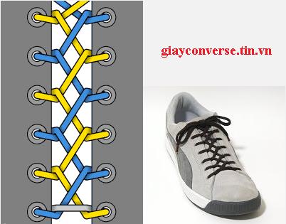 Cách buộc dây giày Converse kiểu kéo khóa