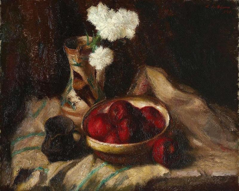 Leon Biju - Natură statică cu mere roșii