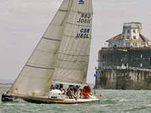 J/100 sailing past the Forts on Round Island Race