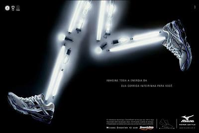 Anúncio da Mizuno retrata energia por lâmpadas