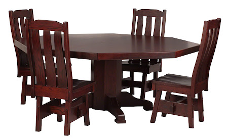 "72"" diameter 8-sided Savoy Table and Savoy Chairs In Cranberry Oak"