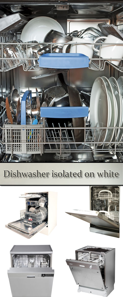 Stock Photo: Dishwasher isolated on white