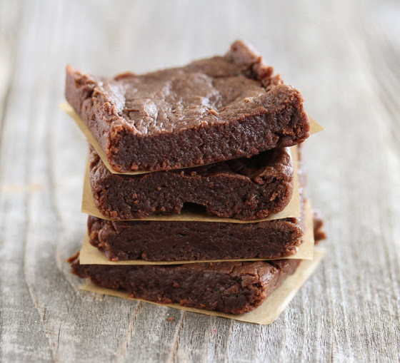 close-up photo of a stack of Eggless Avocado Brownies