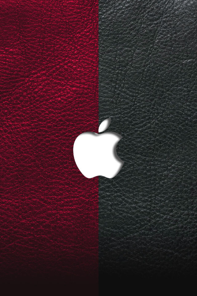 White Apple High Definition on Red and Black Wallpaper For iPhone 4