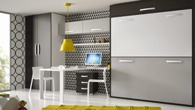 Habitación juvenil con literas abatibles horizontales y mesa de estudio