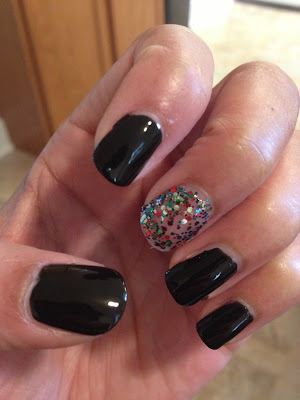 black and glitter manicure mani nails