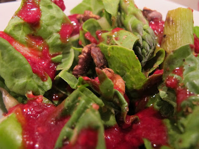 swiss chard, grilled asparagus and toasted walnut salad with homemade raspberry vinaigrette