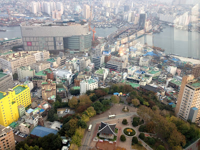 Bird's eye-view of Yongdusan Park from Busan Tower