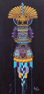 "Beat Totem, Acrylic and aerosol on canvas, 12"" x 30"",  $2,000"