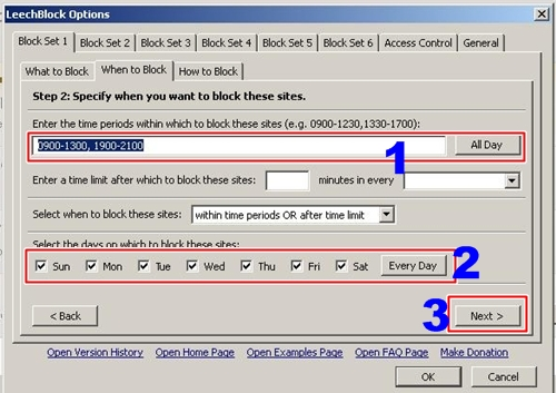 Konfigurasi kapan situs diblokir. Atur waktu blokir sesuai kebutuhan.