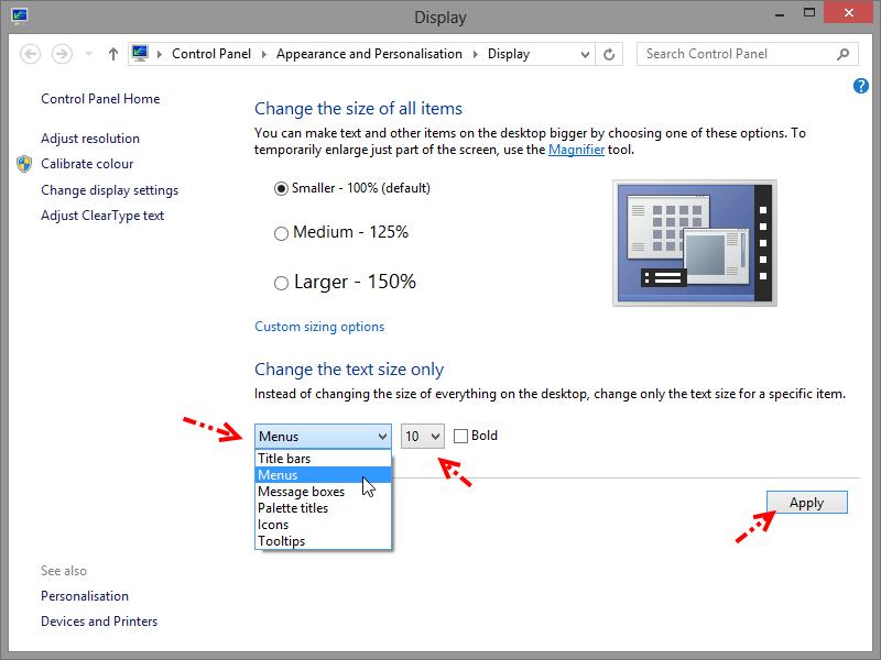 การปรับเปลี่ยนขนาดการแสดงผลของตัวอักษร Windows 8 W8font03