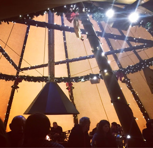 Inside the Teepee at The Oast House in Manchester.