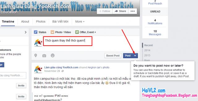 đăng nhập đặt lịch lên facebook