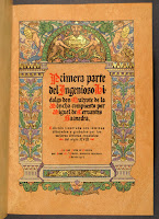 A colorfully printed title page on brown paper.