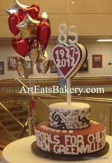 Giant 450 serving red, white and black fondant 85th birthday cake for the Shriner's Hospitals for Children - Greenville, SC