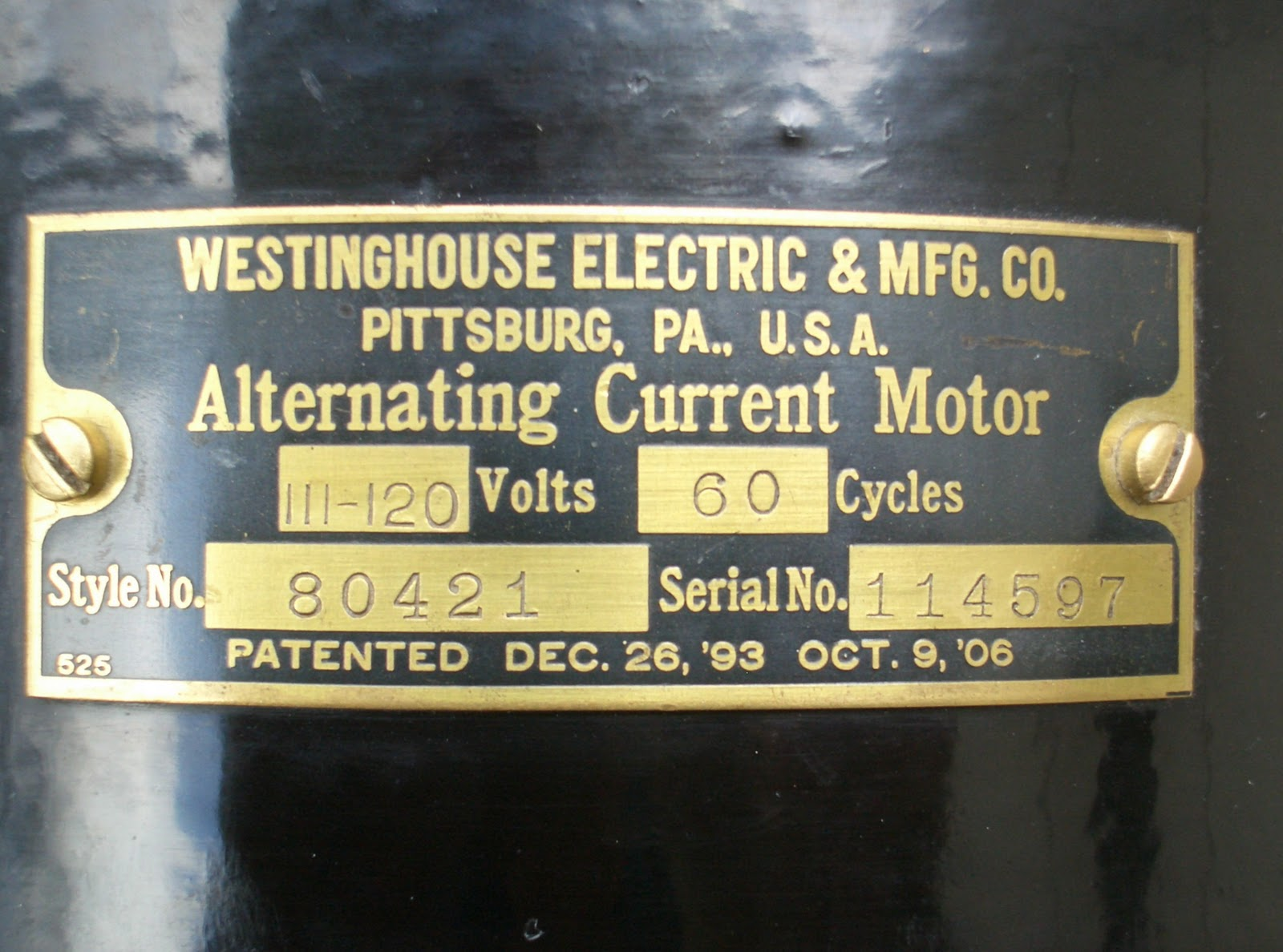 Early Electric Fans The Westinghouse Tank 1905 1911 Desk Fan Wiring Diagram Later Motor Tags With 1906 Patent Date As Above Left Are Attached To Fillister Head Screws While Earlier 1893