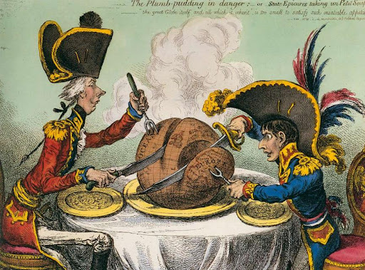 Ilustraciones de Charles Dickens - James Gillray. The Plumb-Pudding in danger