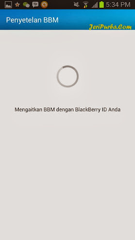 Proses Sinkronisasi BlackBerry ID pada BBM For Android