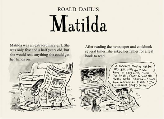 Roald dahls matilda meets e books by aaron renier cover to cover how would that famous roald dahl character matilda react to an e reader find out what happens in this very clever cartoon adaption by aaron renier fandeluxe Choice Image