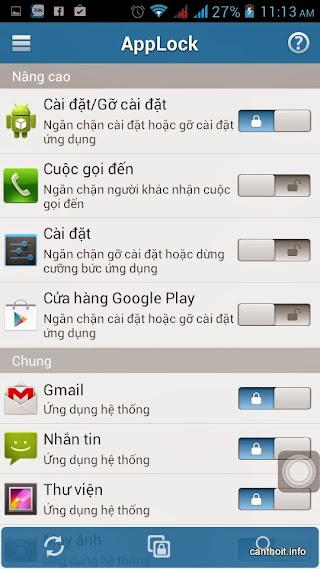 Applock với màn hình chọn ứng dụng để khóa với giao diện nút bật tắt
