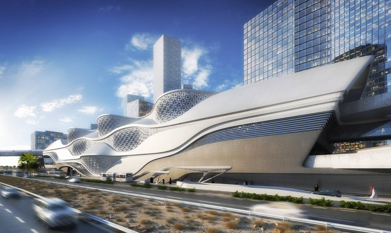 Riyad Arabia Saudita: King Abdullah Financial District Metro Station by Zaha Hadid