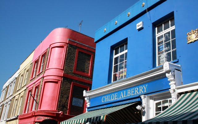 Colorful buildings in Notting Hill in London England