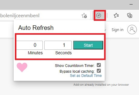 By pressing the extension icon in the browser toolbar, you will enable the latest add-on.
