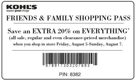 Kohl's Friends and Family Shopping pass August 2011