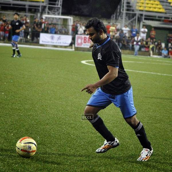 Sachiin J Joshi during a charity soccer match organised by Aamir's daughter Ira Khan, at Cooperage ground, on July 20, 2014.(Pic: Viral Bhayani)