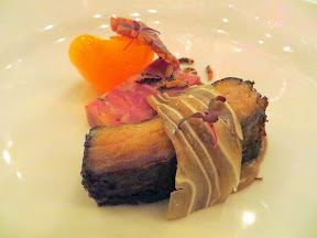 Feast 2014 Dinner, State of the Art with Adelsheim Vineyards and Willamette Valley Vineyards, Pork Shank Terrine, Ear, Persimmon and Wild Rice by Matthew Accarrino
