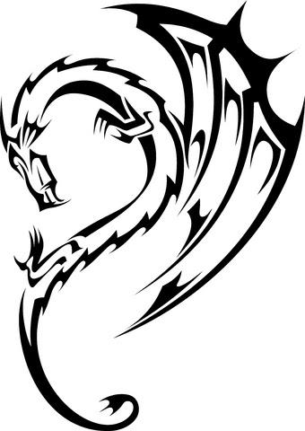 black tribal dragon tattoo