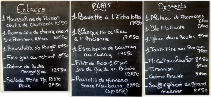 le menu du restaurant Ma Petite Folie