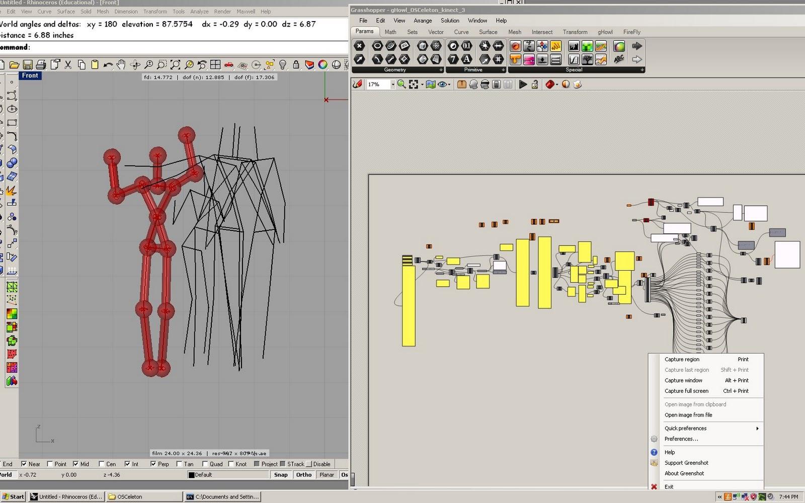 GH kinect: OSCeleton GHowl Kinect Grasshopper OpenNI Nite