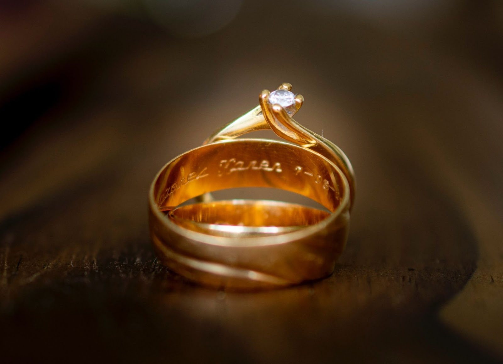 Close up of a gold ring with a small diamond. 'Gold ring' is one of the popular beauty & jewelry keywords on Etsy.