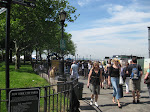 Halfway through the ridiculous Statue of Liberty ferry waiting line.  Those white tents in the distance are our destination.