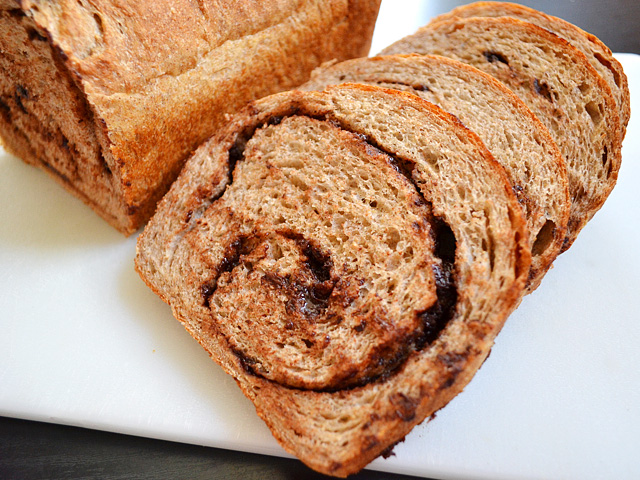 Chocolate Cinnamon Swirl Bread slices