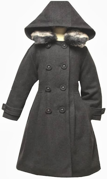 Angel GIRL black Wool-blend Coat long coat jacket with thick lining inside size 5 ,6, 7, 8 ,10/#6120