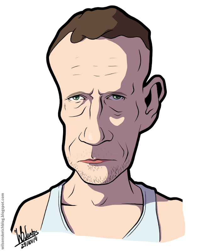 Cartoon caricature of Michael Rooker as Merle Dixon from The Walking Dead.