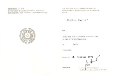 277c Medaille für treue Pflichterfüllung in der Zivilverteidigung der Deutsche Demokratische Republik in Gold http://www.ddrmedailles.nl