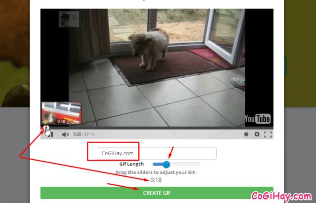 chọn đoạn video youtube để tạo ảnh động gif