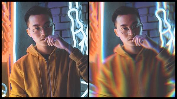 antes e depois da foto do homem asiático com luzes neon sendo que uma está desfocada embaixo