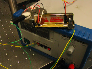 Piezo stack (left) and single-axis unipolar piezo driver (right), during testing in Phil's lab, Dec 10, 2010. See video of the test here http://youtu.be/q72nsWLs7o4