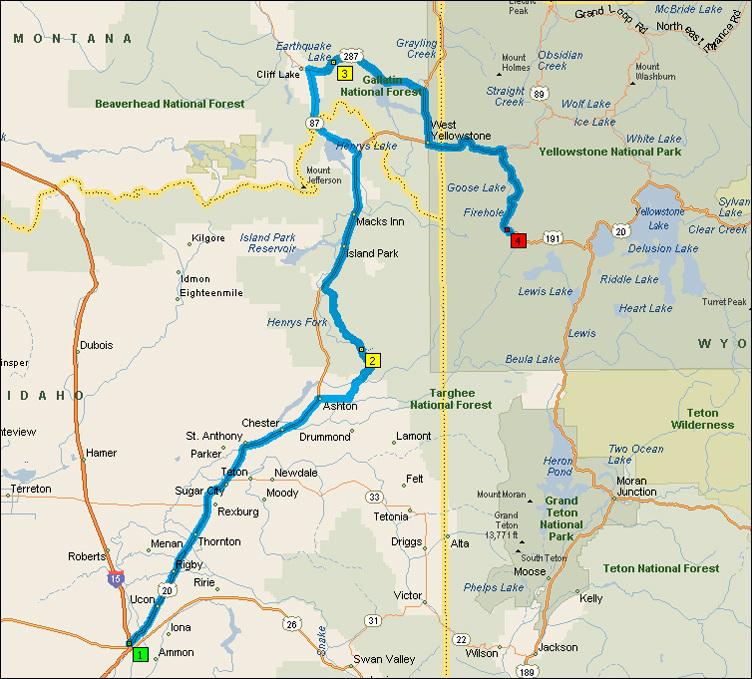 Idaho Falls - Yellowstone Route