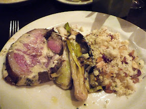 Meriwether's Sunday Supper series with Portland Creamery Anderson Ranch roasted leg of lamb with farm leeks and mustard cream and almond and cranberry couscous