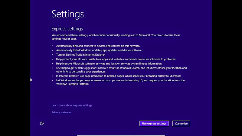 Windows 10 technical Preview - Express settings