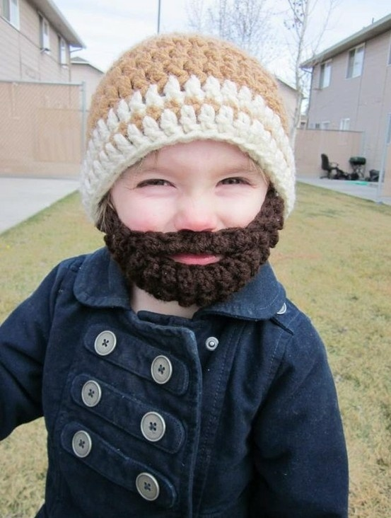 Kid Wearing Beard Snow Hat