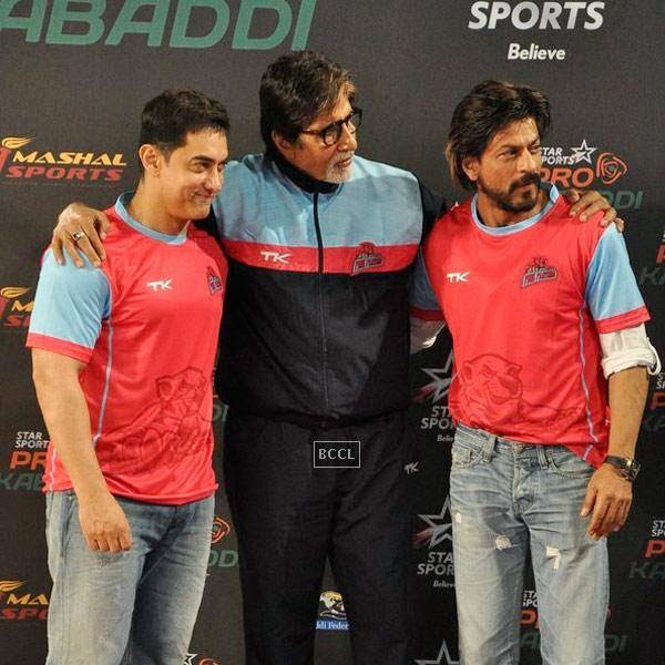 Aamir Khan, Amitabh Bachchan and Shah Rukh Khan attend the opening match of Pro-Kabbadi League, held in Mumbai, on July 26, 2014. (Pic: Viral Bhayani)