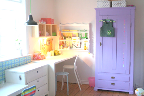 Barewunderbar%252520Purple%252520Wardrobe%252520in%252520an%252520office%252520space Bright Pastel Craft Room | Home Office Space from Barewunderbar