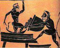 Κάβειροι μεταλλαγμένοι Κρόνιοι ετοιμάζουν οίνο, Cabirian mutated Cronians preparing wine