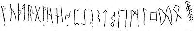 Alfabeto rúnico, na Pedra de Klyver, datada de 400